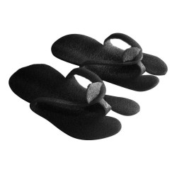 Black foam pedicure slippers - (10 pairs)
